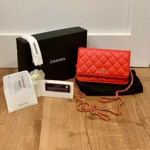 2017 Chanel WOC Red Lambskin